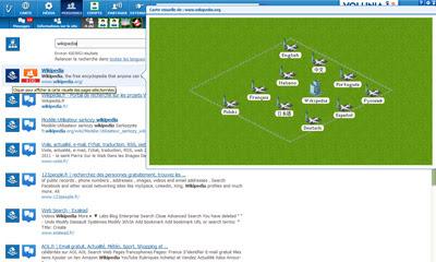 A interface do motor de pesquisa Volunia em modo on-line