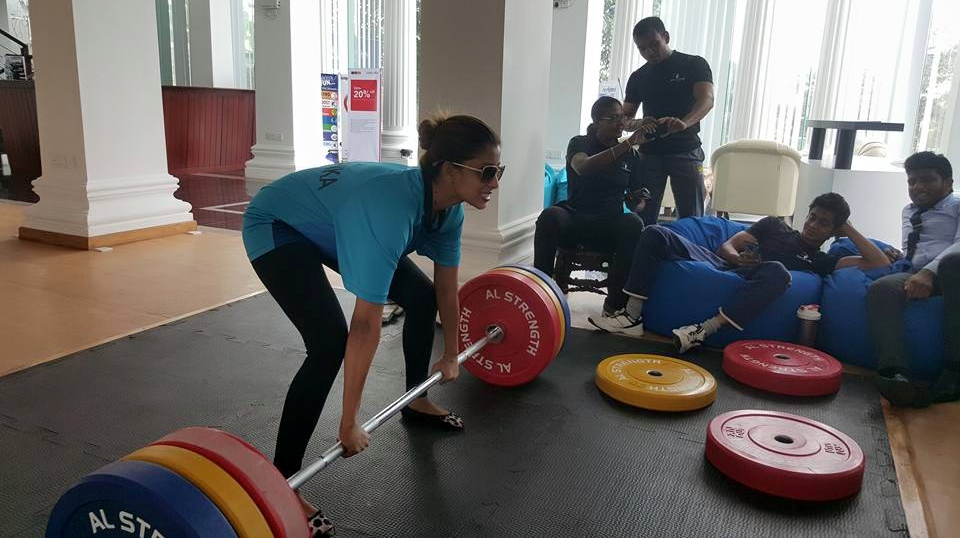 Nadeesha Hemamali Weightlifting in Gym