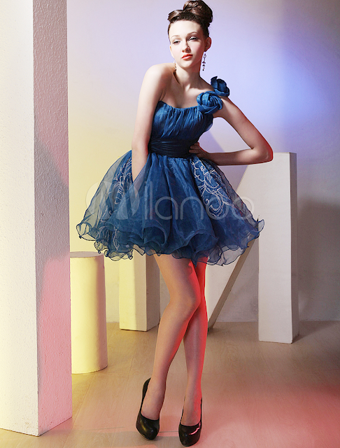 China Wholesale Homecoming Dresses - Modern Royal Blue One Shoulder Organza Short Cocktail Dress