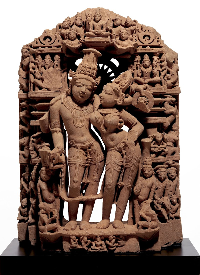 Sculpture of God Vishnu and his Consort Goddess Laksmi - India 10th-11th Century AD