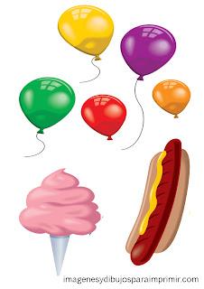 perrito caliente, helados, globos para imprimir