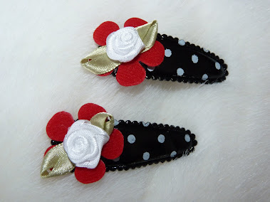 polka dot white rose haircandy
