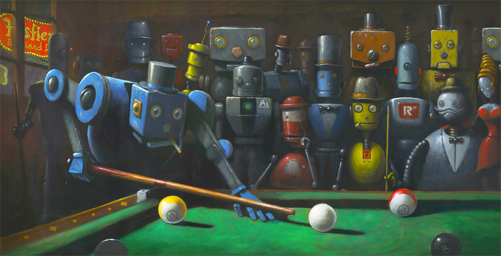 09-The-Hustler-Geoffrey-Gersten-Surreal-and-Retro-Paintings-in-Modern-Times-www-designstack-co