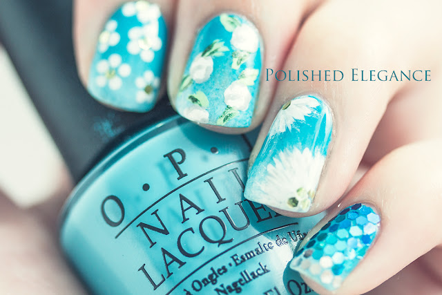 flower manicure flowers spring roses daisy nail art nail polish white flowers blue gradient