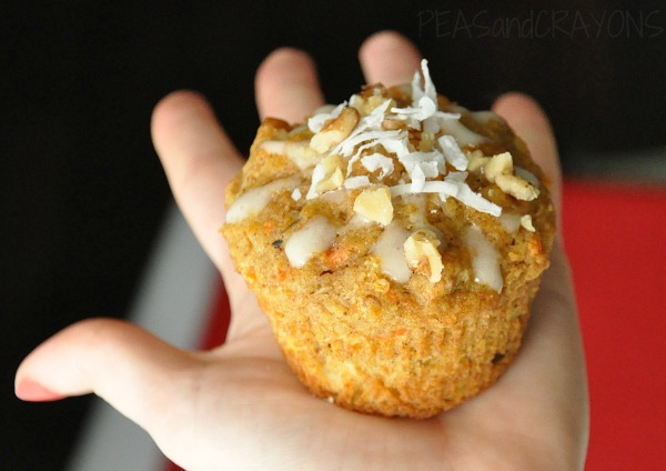 Carrot & Coconut Carrot Cake Breakfast Muffins with Honey Walnut Cream Cheese Glaze