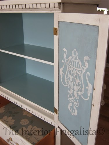Small Armoire Makeover with wallpaper lined drawers