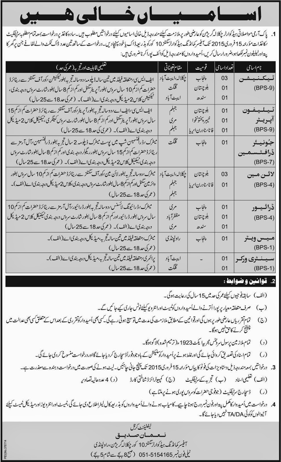 Pakistan Army Chaklala Headquarter Jobs in Rawalpindi
