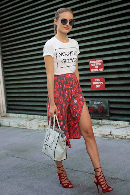 floral circle skirt and t-shirt