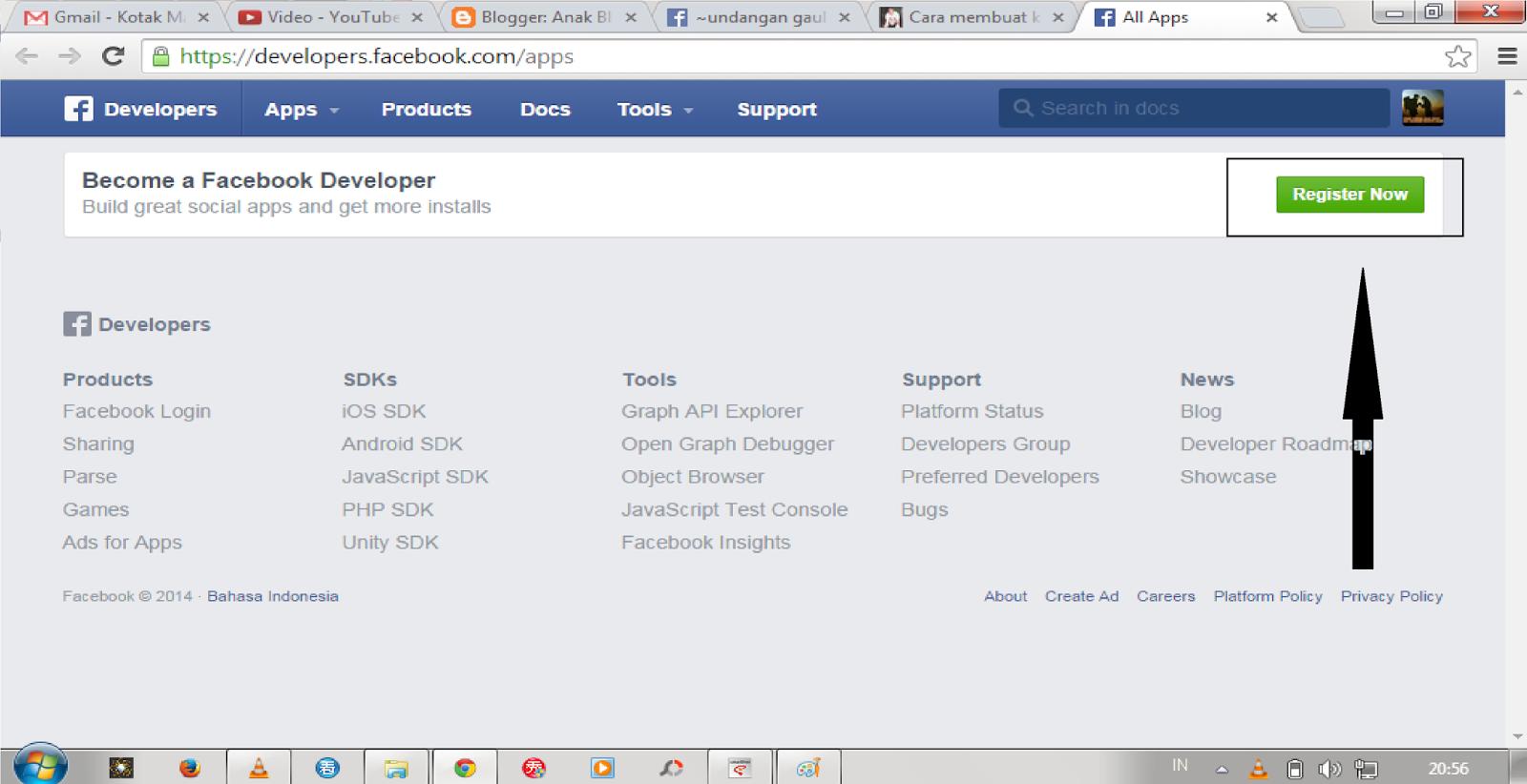 cara membuat mendaftar aplikasi facebook untuk persiapan