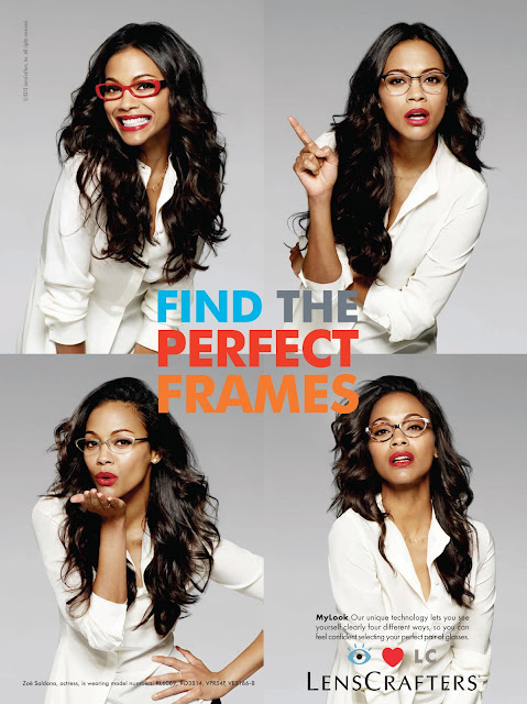 Find the perfect frames, glasses advert featuring Zoe Saldana, actress