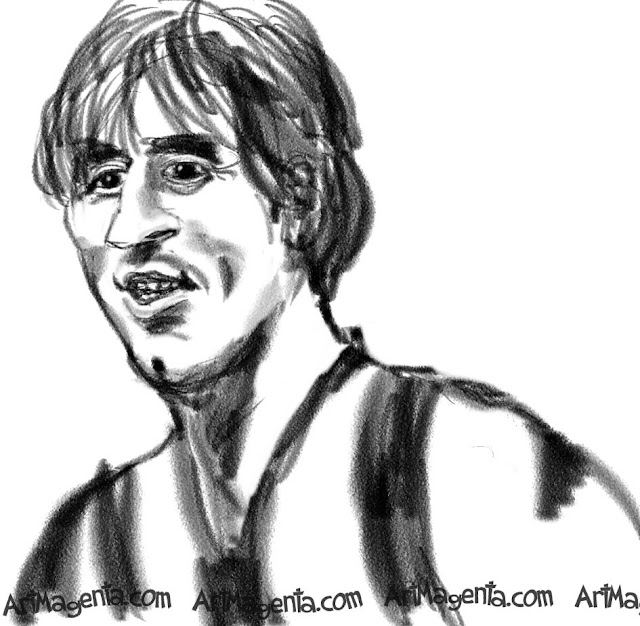 Lionel Messi caricature cartoon. Portrait drawing by caricaturist Artmagenta