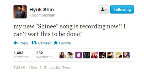 Producer Shin Hyuk tweets about SHINee's new song 12121