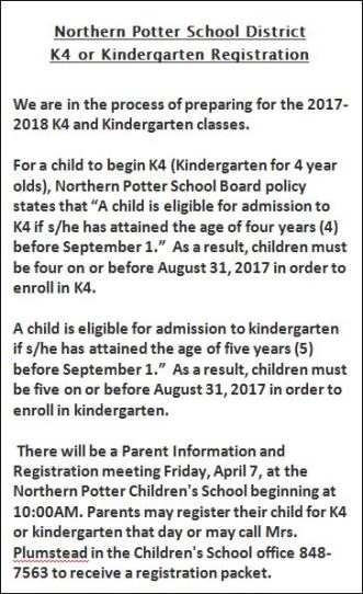 4-7 NP K4 or Kindergarten Registration
