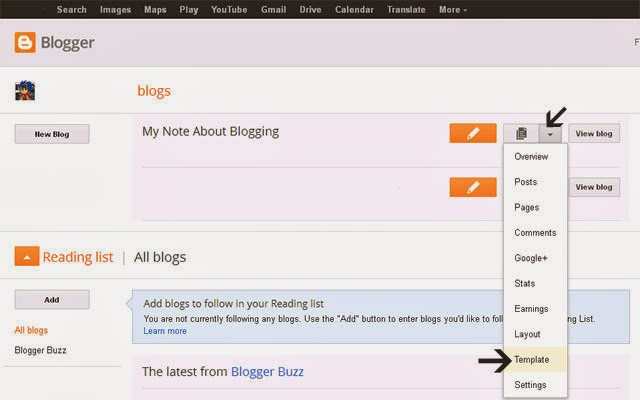How to Edit Live Blogger Template and Customize it | My Blogging Note