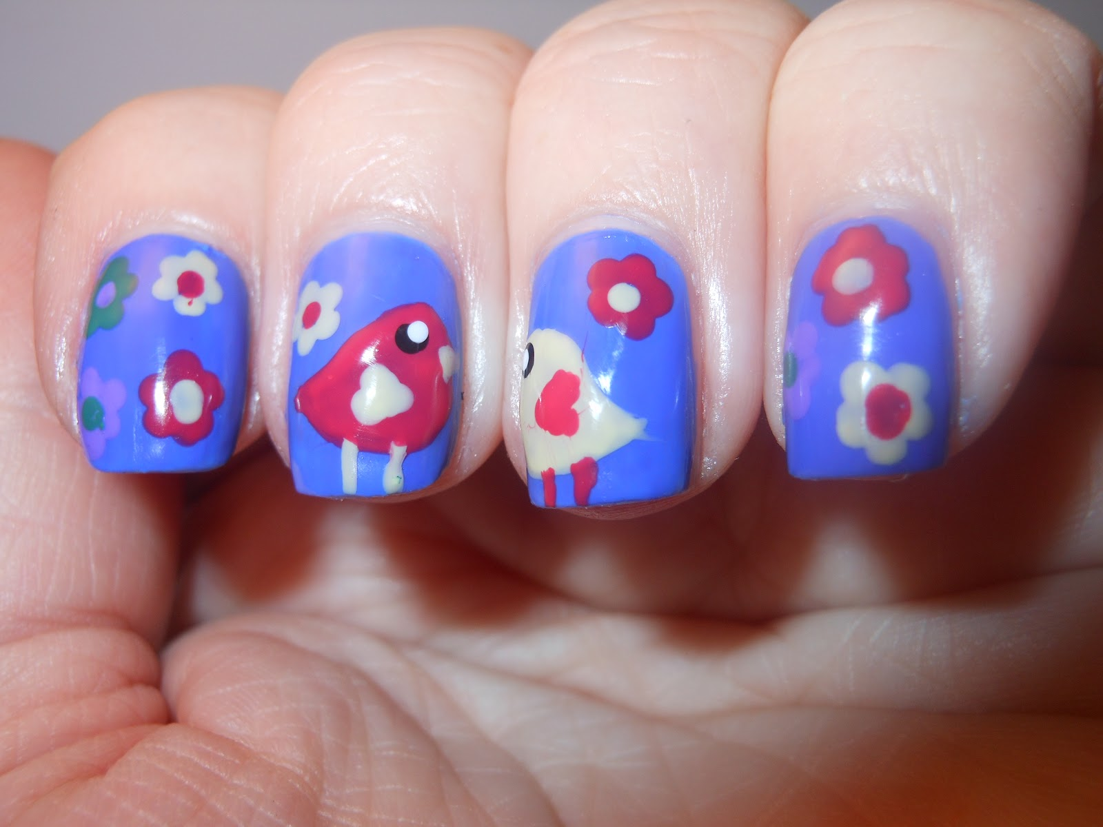 The Polished Momma: Spring Birds and flowers nail art