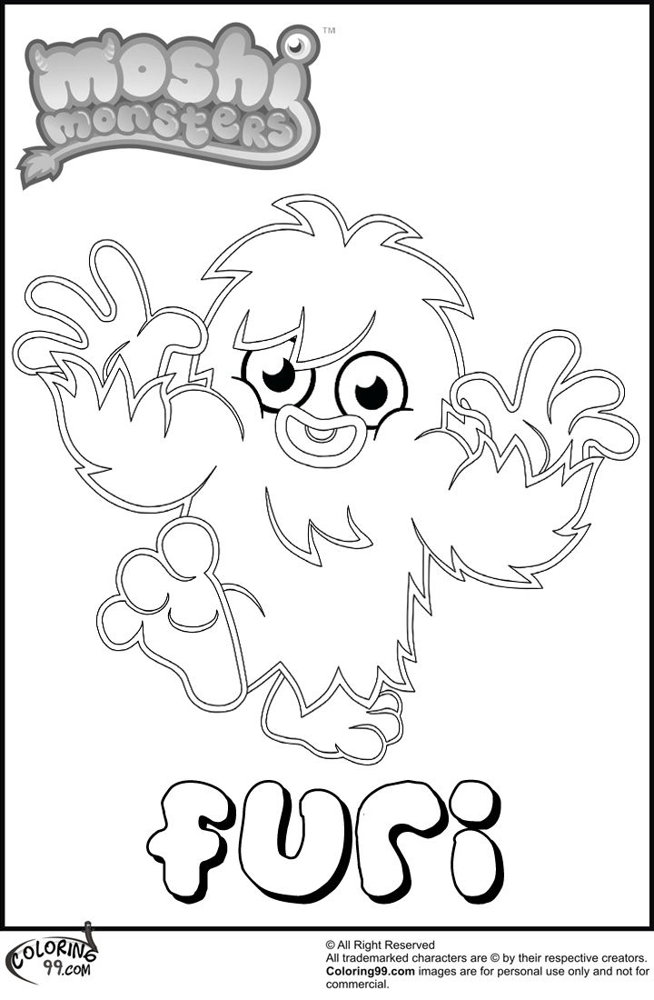 moshi monster furi coloring pages