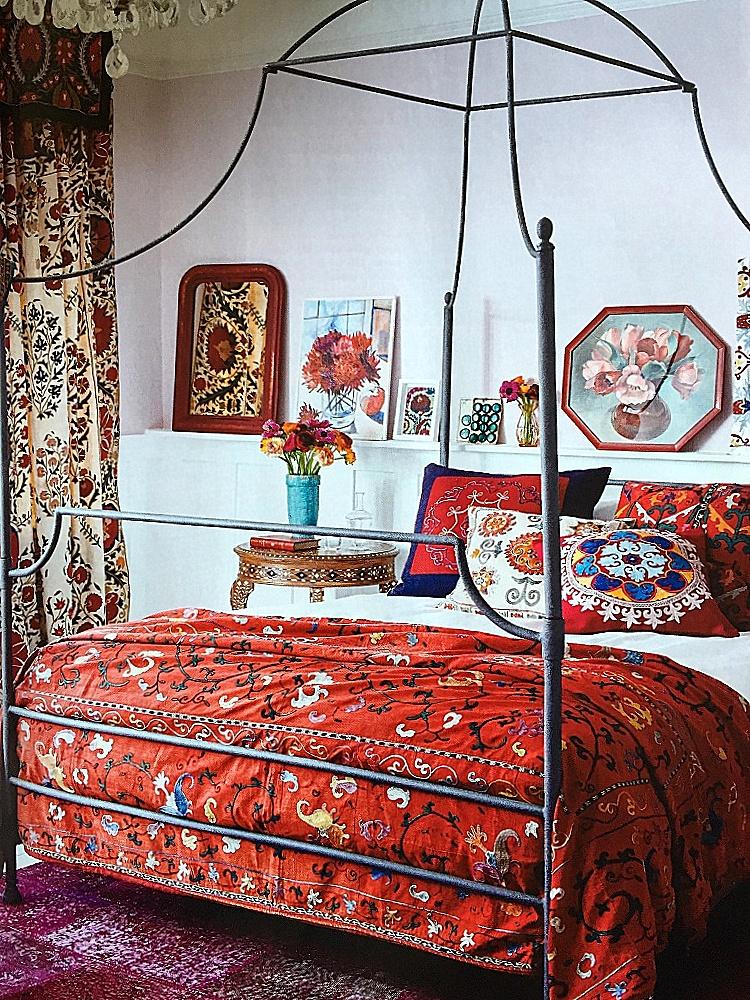 Suzani draped bedroom