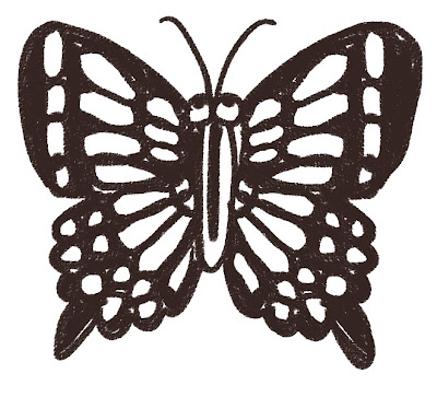 アゲハチョウのイラスト(虫) モノクロ線画