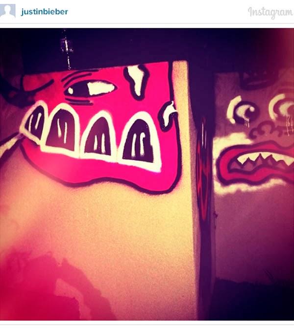 Justin Beiber's Colourfilled Gold Coast Grafitti via Instagram