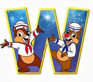 Alfabeto de personajes Disney con letras grandes W Chip y Chop.
