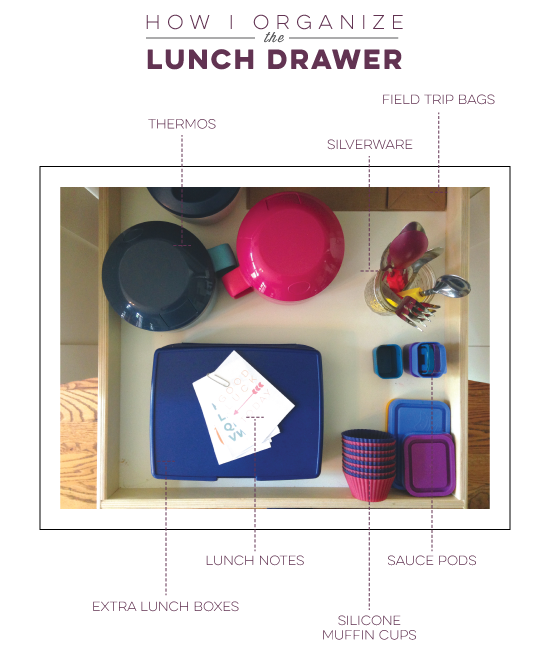 Image of a lunch box drawer to help with inspiration on how to organize  school lunch supplies.