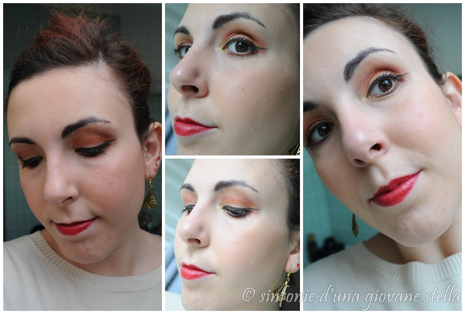 make up ● red lipstick and sunset on my eyes