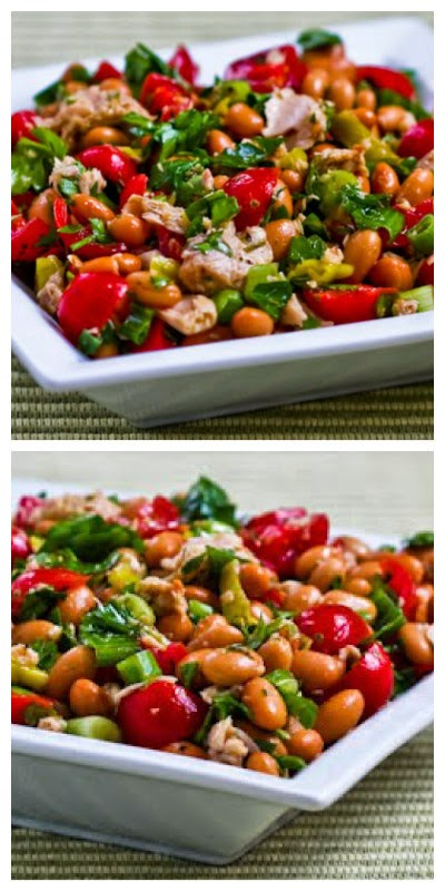 Spicy Pinto Bean and Tuna Salad with Peperoncini, Tomatoes, and Parsley found on KalynsKitchen.com