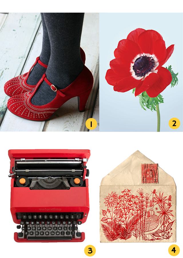 selection of red items - shoes, anemone, valentine typewriter and embroidered envelope