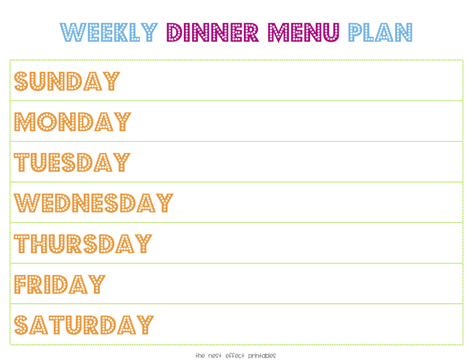Printable weekly menu planner new calendar template site for Monthly dinner menu template