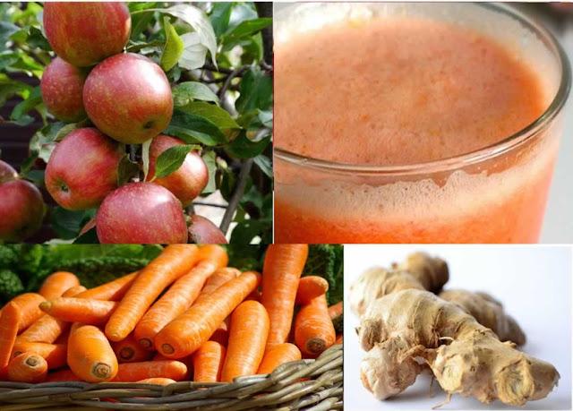 jus de fruits aux pommes, carottes et gingembre, cocktail santé, vegan, sans gluten
