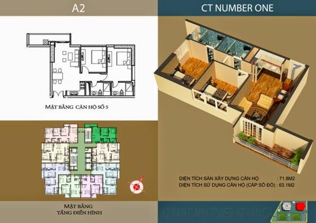thiết kế chi tiết căn hộ số 5 - 63,1 m2 dự án ct number one