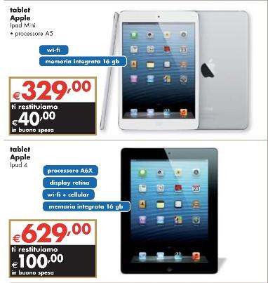 Sul volantino di Panorama nei primi giorni di luglio alcuni prodotti Apple in promozione con bonus spesa come l'iPad 4 e l'iPad mini