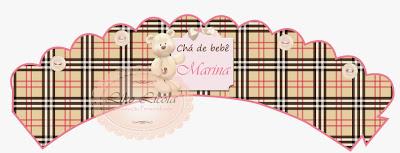 rótulos personalizados Xadrez Burberry em Rosa