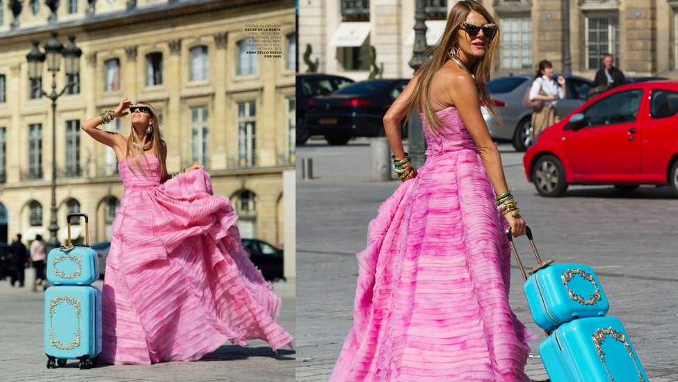 Anna Dello Russo shooting for Vogue Russia wearing ADR for H&M trolley, jewels and sunglasses.