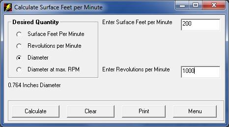 Surface Feet Per Minute 68