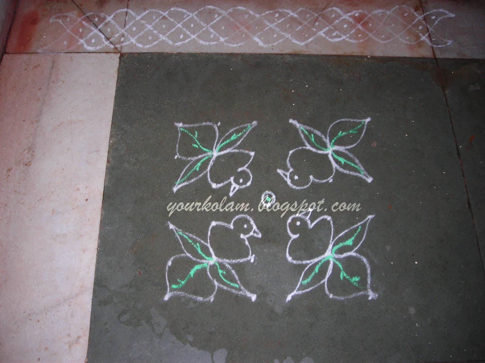 அழியாத கோலம்/ ముగ్గులు / रंगोली : Bird kolam with border Rangoli Designs With Dots For New Year 2012