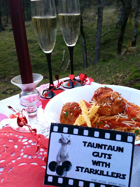 Star Wars Party Food Label and Recipe - Tauntaun Guts with Starkillers aka Spaghetti with Meatballs