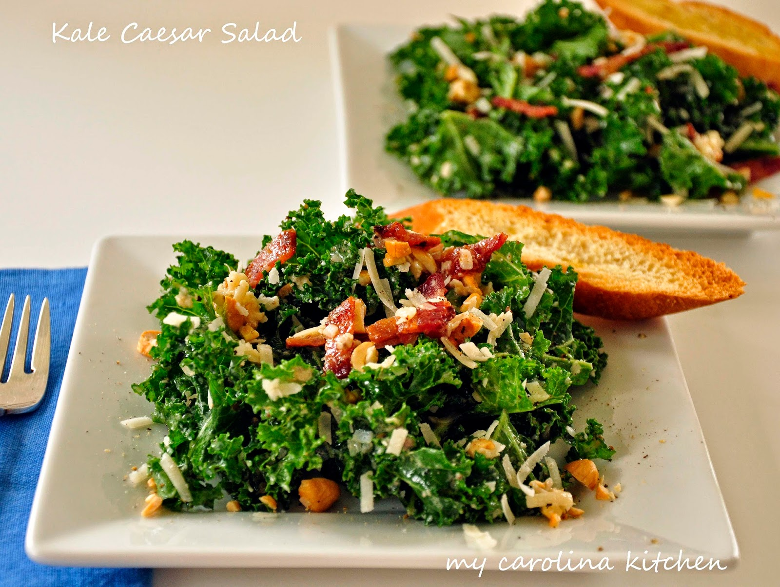 My Carolina Kitchen: Kale Caesar Salad with Smoky Bacon ...