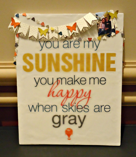 You are my Sunshine digitally created wall art with embellishments
