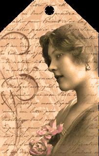 tag vintage para scrapbooking de color sepia con foto de dama antigua y letras de fondo