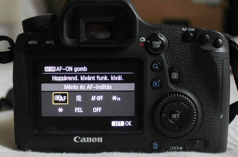 Canon 6D AF-ON beállítása: Mérés és AF indítása