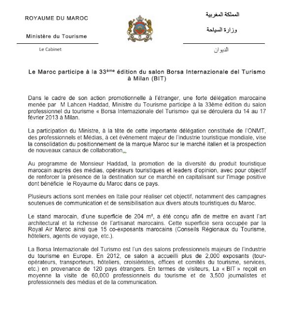 Le Maroc participe à la 33ème édition du salon Borsa Internazionale del Turismo