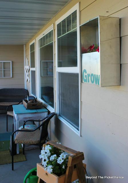 front porch, planter, metal, grow, junk garden, http://bec4-beyondthepicketfence.blogspot.com/2015/06/project-challenge-metal.html