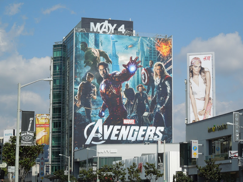 Giant Avengers movie billboard Sunset Plaza