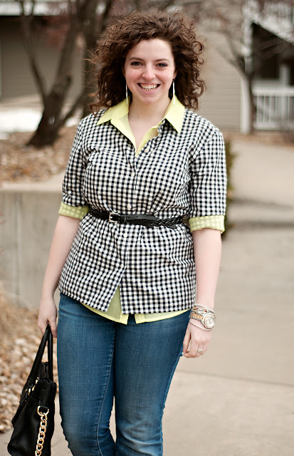 Gingham and neon layered outfit
