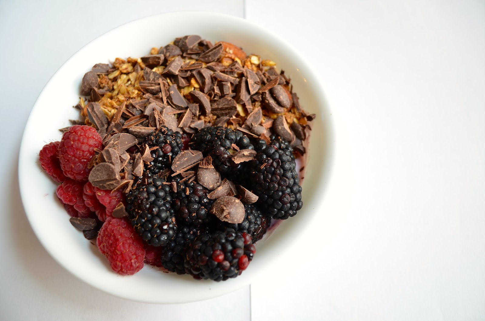 Berries, Granola, Greek Yogurt, and Chocolate