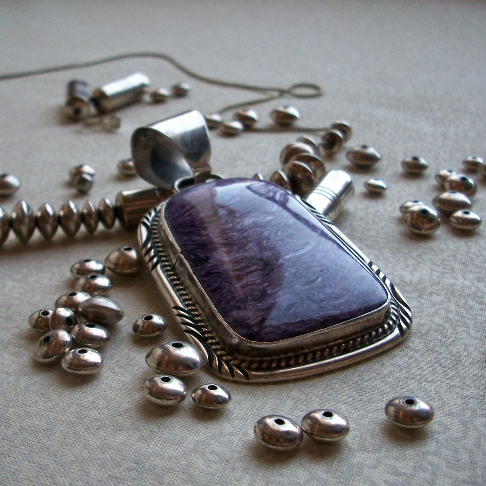 Broken Necklace of Silver & Purple Stone