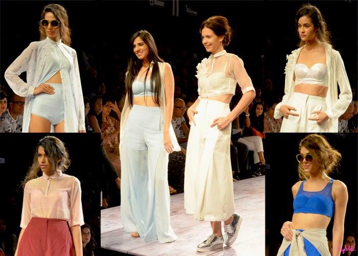 Designer Nishka Lulla and models showcase a collection of crop tops maxi skirts pallazo pants in sheer fabrics at Lakme Fashion Week Summer Resort 2015 in Mumbai