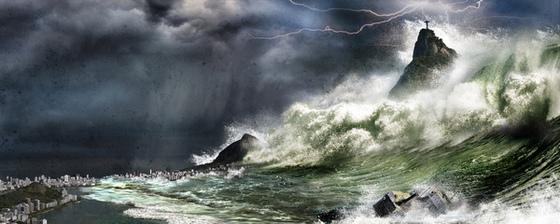 Tsunami gigante invadindo o Rio de Janeiro em 2036, arte digital