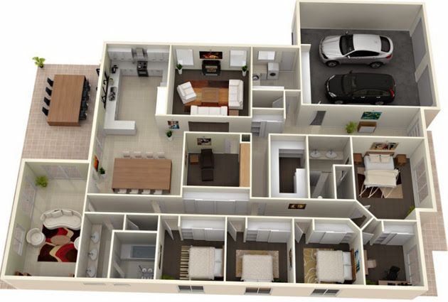 3d modern house plans collection for 4 bedroom 3d house plans
